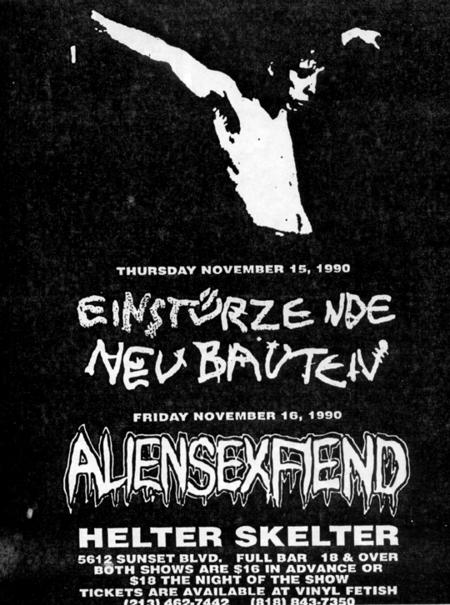 ... for an Einstürzende Neubauten/Alien Sex Fiend show at Helter Skelter.